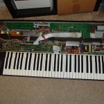 Yamaha DX7 open with keyboard in place